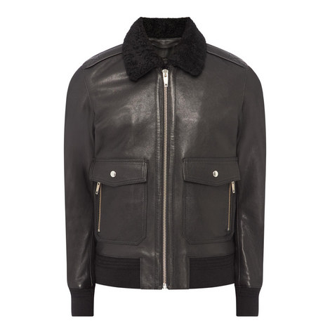 Shearling Collar Leather Jacket, ${color}