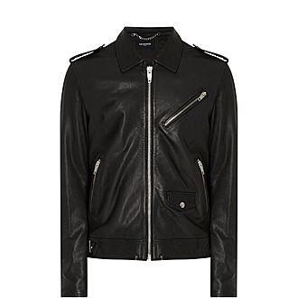 Epaulette Leather Jacket