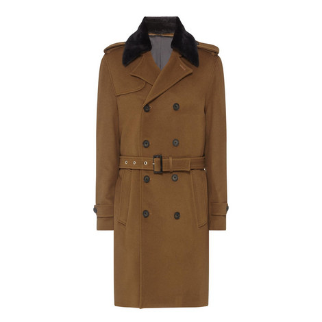 Removable Collar Trench Coat , ${color}