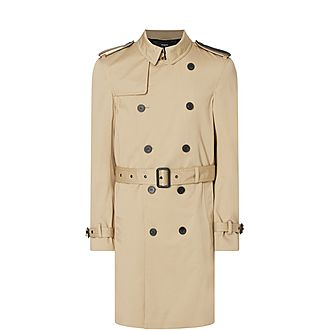 Leather Shoulder Tab Trench Coat
