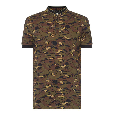 Camouflage Officer Collar Polo Shirt, ${color}