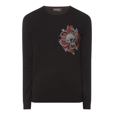 Skull Embroidered Sweater, ${color}