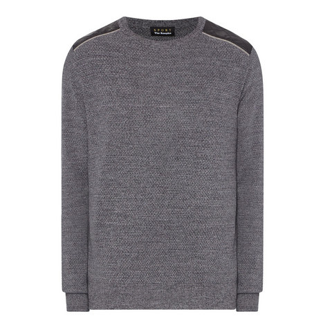 Leather Panel Marl Sweater, ${color}
