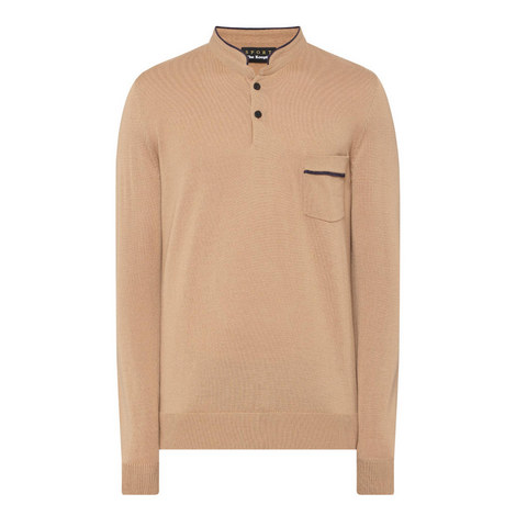 Band Collar Merino Wool Sweater, ${color}