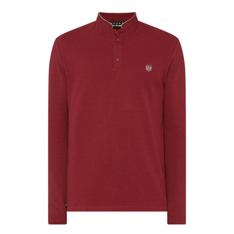 Officer Collar Long-Sleeved Polo Shirt, ${color}
