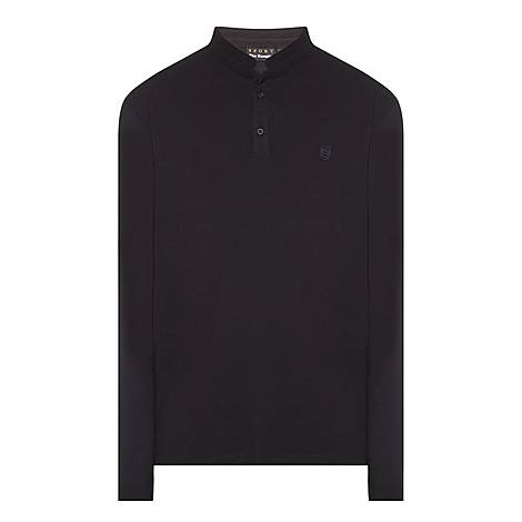 Long-Sleeved Officer Collar Polo Shirt, ${color}