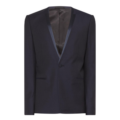 Satin Collar Suit Jacket, ${color}