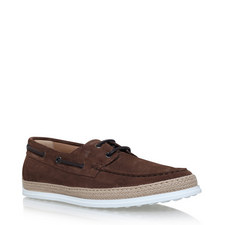 Suede Raffia Boat Shoes