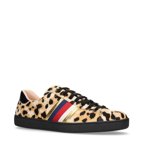 Leopard Pony Hair Trainers, ${color}