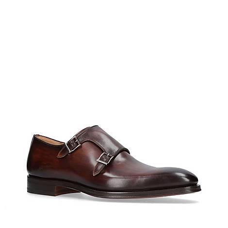 Burnished Double Monk Strap Shoes, ${color}