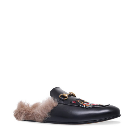 Princetown Appliqué Shearling Loafers, ${color}