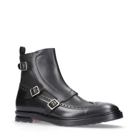 Triple Buckle Monk Strap Boots, ${color}