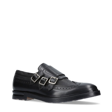 Triple Buckle Monk Strap Shoes, ${color}