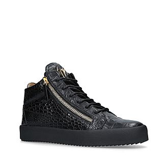 Kriss Croc-Embossed Mid Top Trainers
