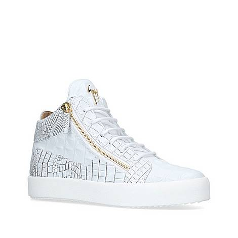 Kriss Croc-Embossed Mid Top Trainers, ${color}