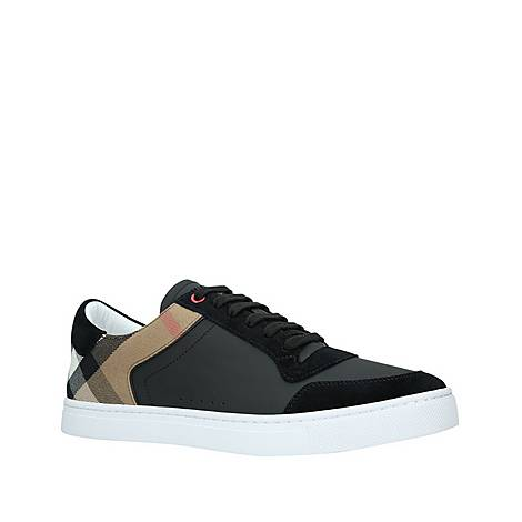 Leather and House Check Sneakers, ${color}