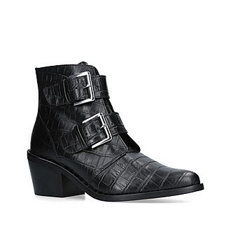 Denny Croc Print Ankle Boots