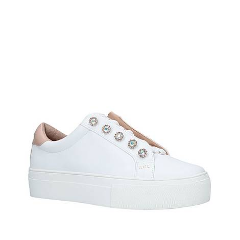 Liviah White Leather Studded Trainers, ${color}