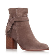 Gathered Tie Ankle Boots