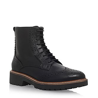 Snail Brogue Lace-Up Boots