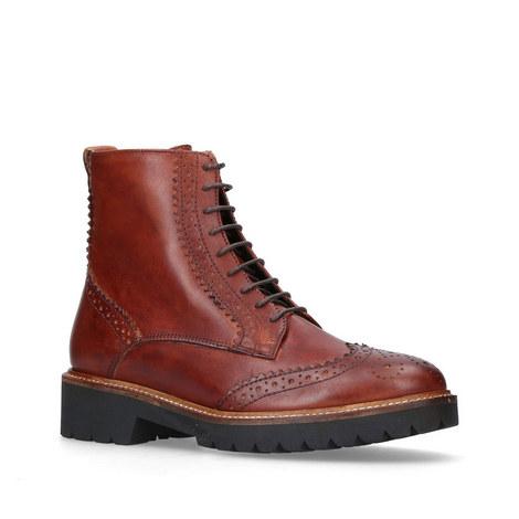 Snail Brogue Lace-Up Boots, ${color}