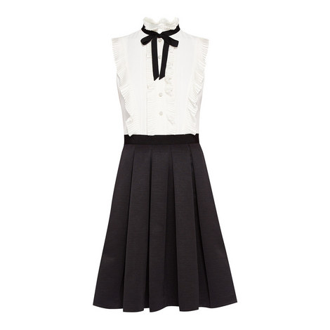 Kimika Pleated Neck Tie Dress, ${color}