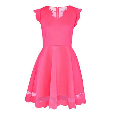 Sharlot Scallop Trim Skater Dress, ${color}