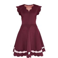 Sharlot Scallop Trim Skater Dress