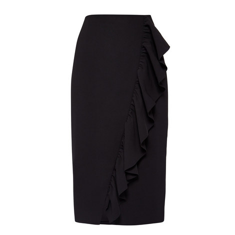 Oden Ruffle Pencil Skirt, ${color}