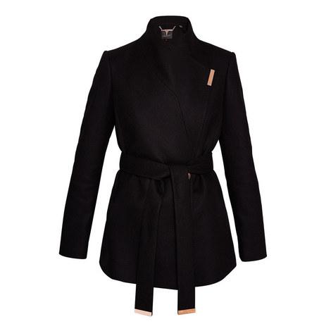 Keyla Short Wool-Blend Wrap Coat, ${color}