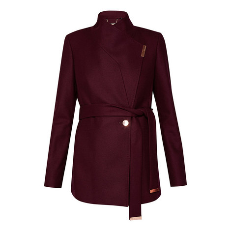 Keyla Short Wool-Blend Wrap Coat, ${color}