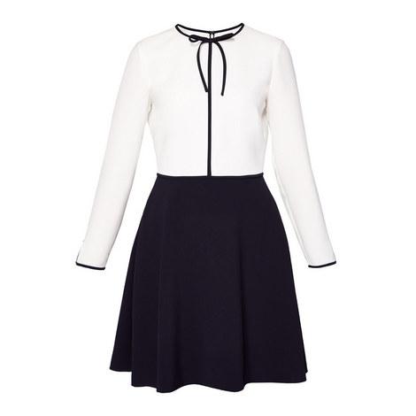 Loozy Neck Tie A-Line Dress, ${color}
