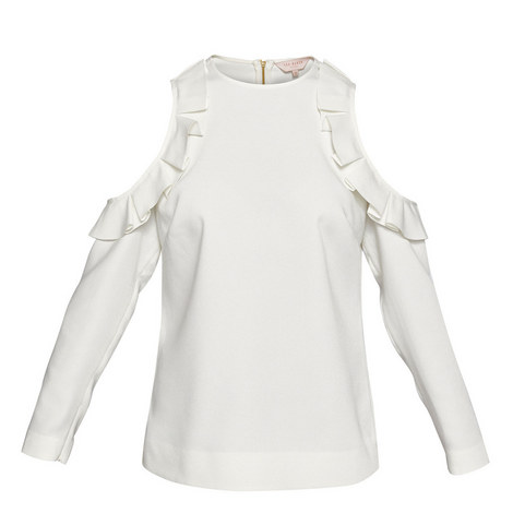 Steffe Cold-Shoulder Ruffle Top, ${color}