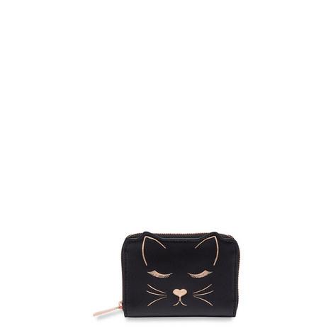 Terica Cat Motif Leather Purse, ${color}