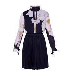Ellona Gardenia Frill Detail Pleated Dress