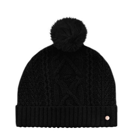 Kyliee Cable Knit Bobble Hat, ${color}