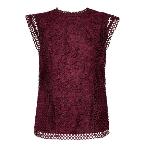 Zania Lace Overlay Top, ${color}