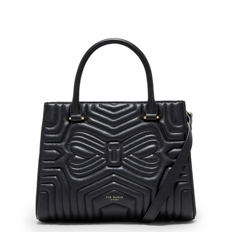 Bow Quilted Tote Bag, ${color}