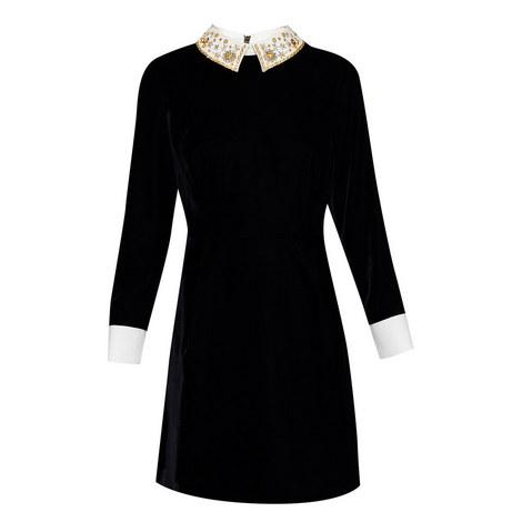 Embellished collar velvet dress, ${color}
