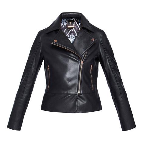 Lizia Leather Biker Jacket, ${color}