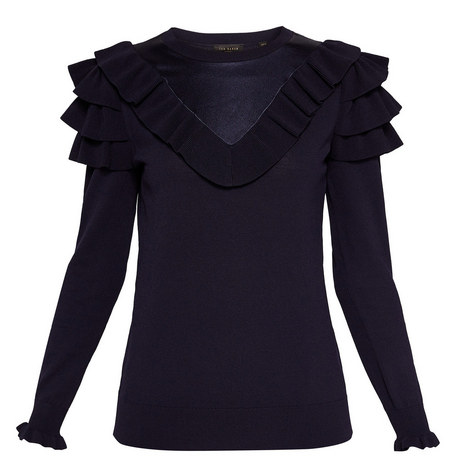 Hellgar Satin Contrast Ruffle Knit, ${color}