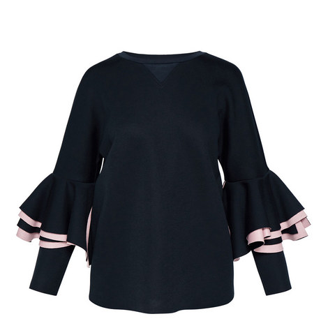 Bernae Frill Sleeve Sweatshirt, ${color}