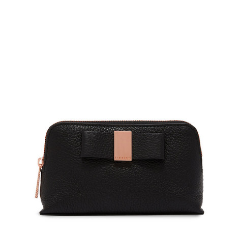 Raulph Leather Bow Mini Make Up Bag, ${color}