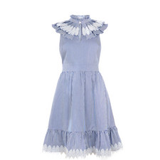 Kikkii Frill Bib Lace Appliqué Dress