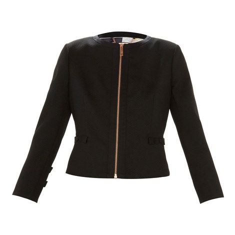 17a74a02ddee97 Nadae Cropped Bow Detail Jacket