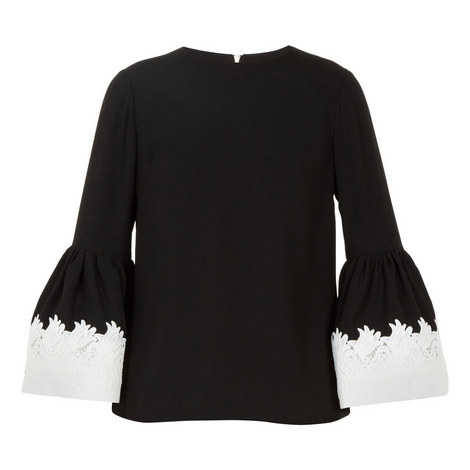 Amonie Fluted Sleeve Lace Trim Top, ${color}