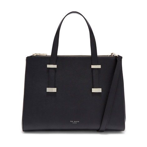 Alexiis Faceted Bow Leather Tote Bag, ${color}