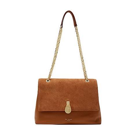 Hermiaa Suede Padlock Shoulder Bag, ${color}