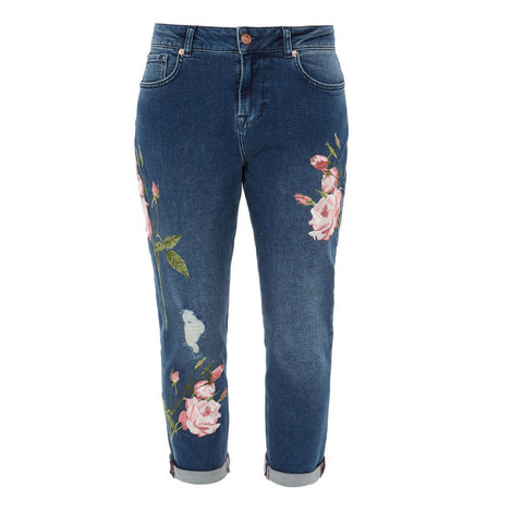 Khlowe Floral Embroidered Boyfriend Jeans, ${color}