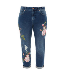 Khlowe Floral Embroidered Boyfriend Jeans